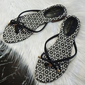Kate Spade black white mystic thong sandals